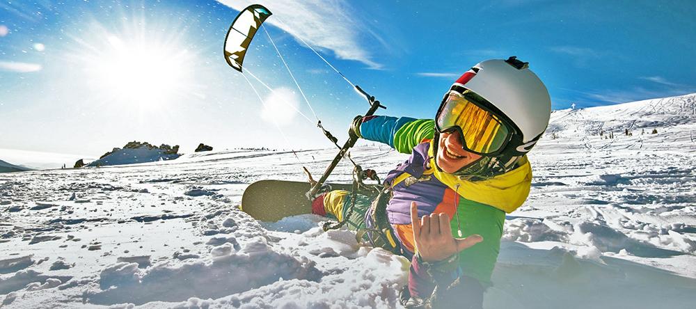 Зимний кайтинг в Москве (Snowkiting)